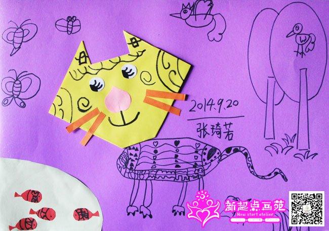 手工画猫-儿童画初级班2014年9月20日